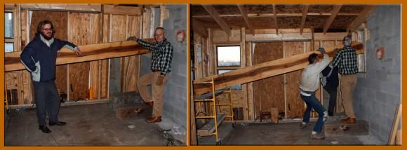 Dylan Davis and Ken Mantai ready to hoist the beam.