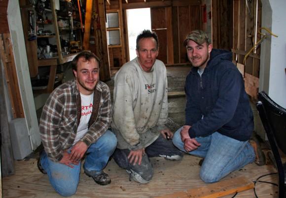 The the thin slab concrete pour crew. November 26, 2013