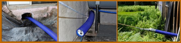 "HeatSeal 6"" pipe. Into the basement, out the bottom of the other side, through the ground and out the side of the other house."