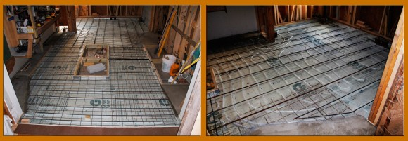 """1/2"""" PEX radiant floor heat tubing. Note left photo: the kitchen stove island center and sink, counter area on right. Photo right: dinning area. 3 separate adjustable loops were run for both areas. Perimeter pads were pre-poured by hand for screed purposes. It was the only way I could do it with my level of experience and crew."""
