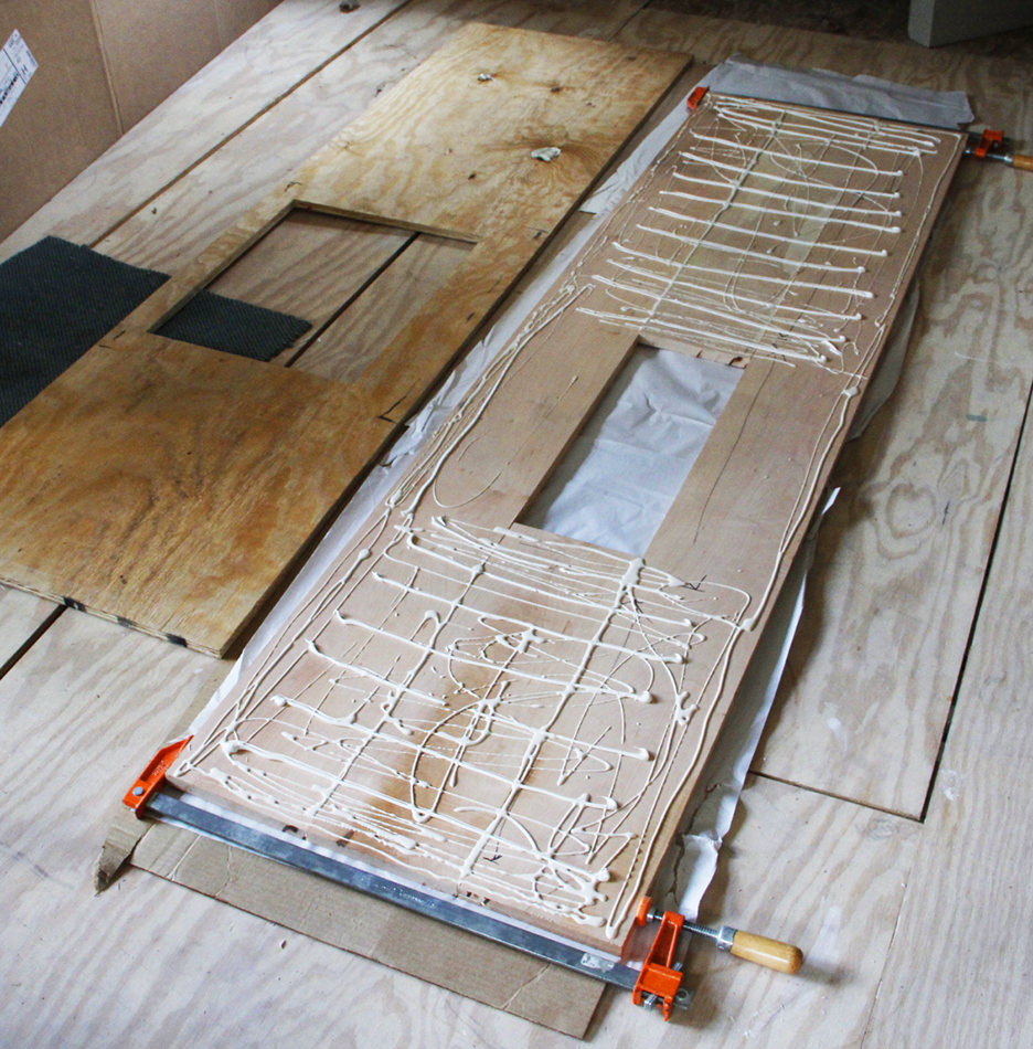 "The planks are first edge glue with waterproof glue and then face glued to the 3/4"" plywood."