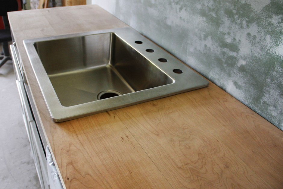 Test fitting the Elkay sink. This type of sink is designed to be top mount or under mount.