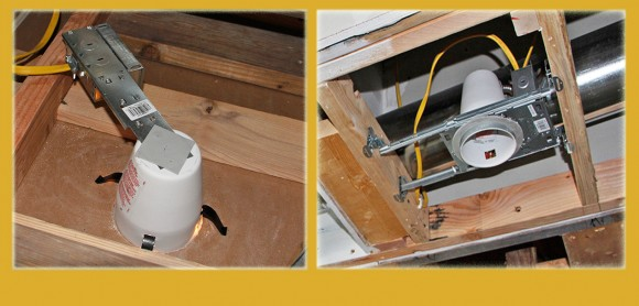 """Two types of Halo 4"""" recessed light units. Remodel on the left and New Construction on right."""