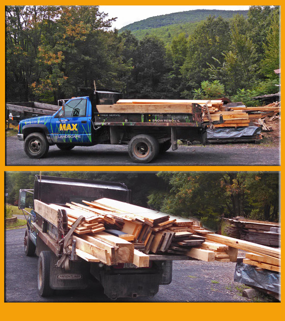 """The Max"" is ready for the return trip. Loaded with Maple beams and 1x White Pine for siding."