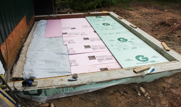 "Three layers; Insul-Tarp, 1"" ridged foam insulation and then 2"" foam insulation."