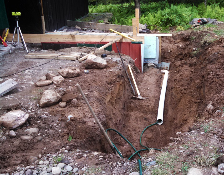 Bedroom addition foundation drain.