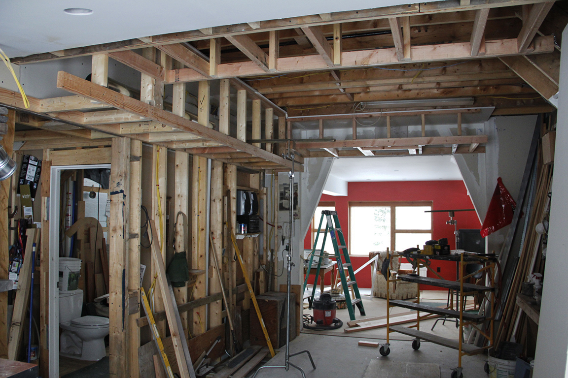 The kitchen soffits framed in.