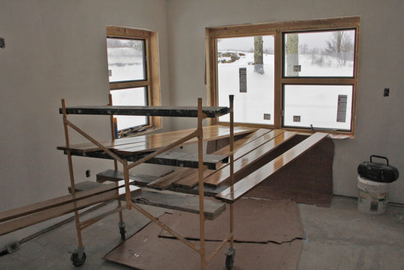 April- The final window was installed and the hard maple custom jambs are being varnished.