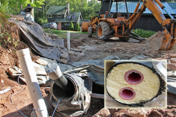 "Summer was fast going by and in the middle of August I finally ran 75 feet of this Rehau- duel, 1 1/4"" insulated, PEX tubing , between the basement and the Pavilion. The Pavilion will house the future wood boiler. A 10 inch culvert, 3 feet deep, was run the whole way and the Rehau was pulled through that."